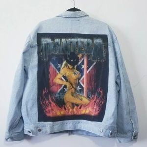 Vintage Pantera Distressed Jean Jacket Size XL